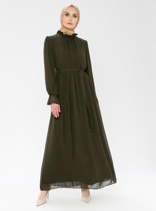 Khaki - Polo neck - Fully Lined - Dress