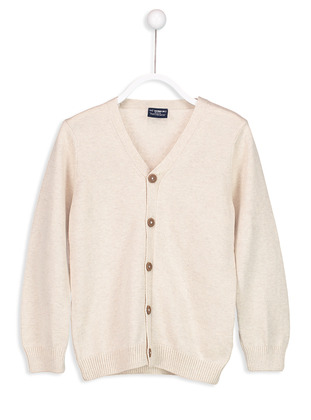 V neck Collar - Ecru - Boys` Cardigan