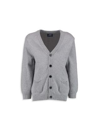 V neck Collar - Gray - Boys` Cardigan