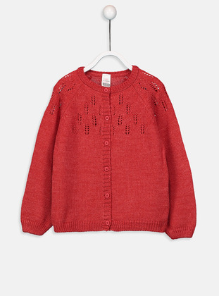 Printed - Crew neck - Red - Baby Cardigan