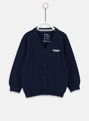 V neck Collar - Navy Blue - Baby Cardigan