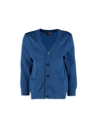 V neck Collar - Blue - Boys` Cardigan