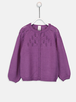 Printed - Crew neck - Purple - Baby Cardigan
