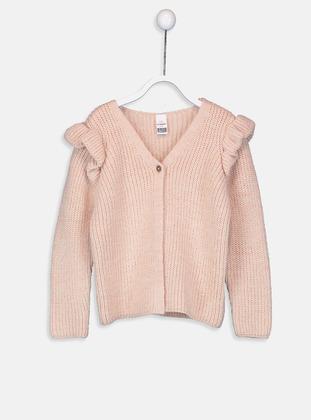 V neck Collar - Pink - Baby Cardigan