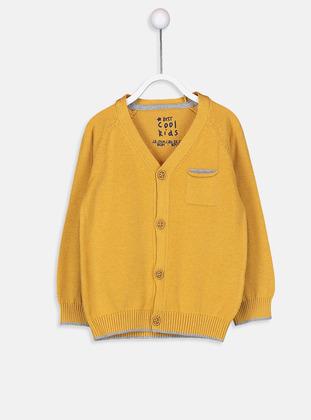 V neck Collar - Yellow - Baby Cardigan