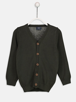 V neck Collar - Green - Boys` Cardigan