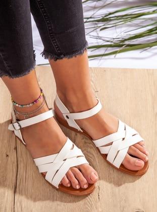 White - White - Sandal - Sandal - Ayakkabı Havuzu