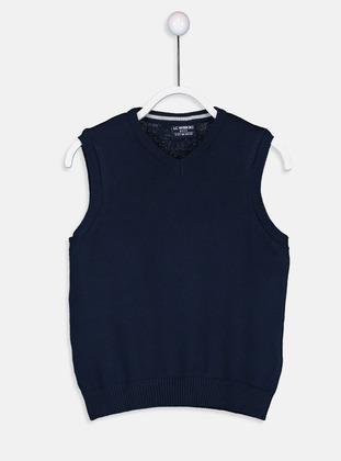 V neck Collar - Navy Blue - Boys` Cardigan