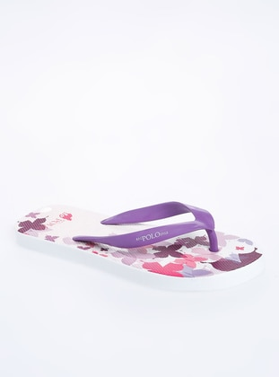 White - Purple - Sandal - Slippers
