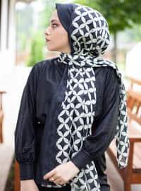 Black - Printed - Cotton - Shawl