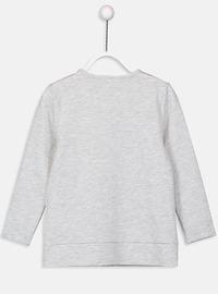 Printed - Crew neck - Gray - Girls` Cardigan