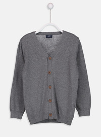 V neck Collar - Gray - Boys` Cardigan