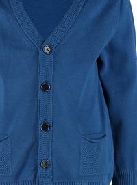 V neck Collar - Blue - Boys` Cardigan