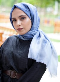 Blue - Plain - Cotton - Shawl