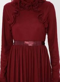 Cherry - Fully Lined - Crew neck - Muslim Evening Dress