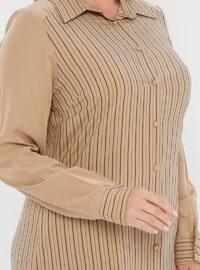 Beige - Stripe - Point Collar - Unlined - Plus Size Suit