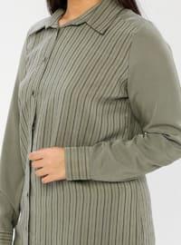Khaki - Stripe - Point Collar - Unlined - Plus Size Suit