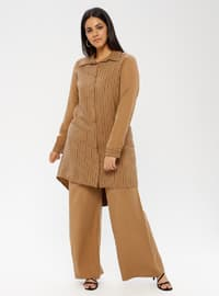 Brown - Stripe - Point Collar - Unlined - Plus Size Suit