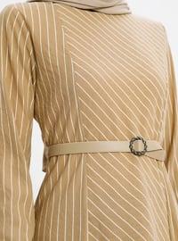 Beige - Stripe - Unlined - Suit