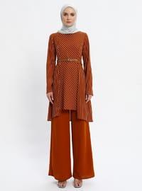 Tuğla - Çizgili - Astarsız kumaş - Kostüm