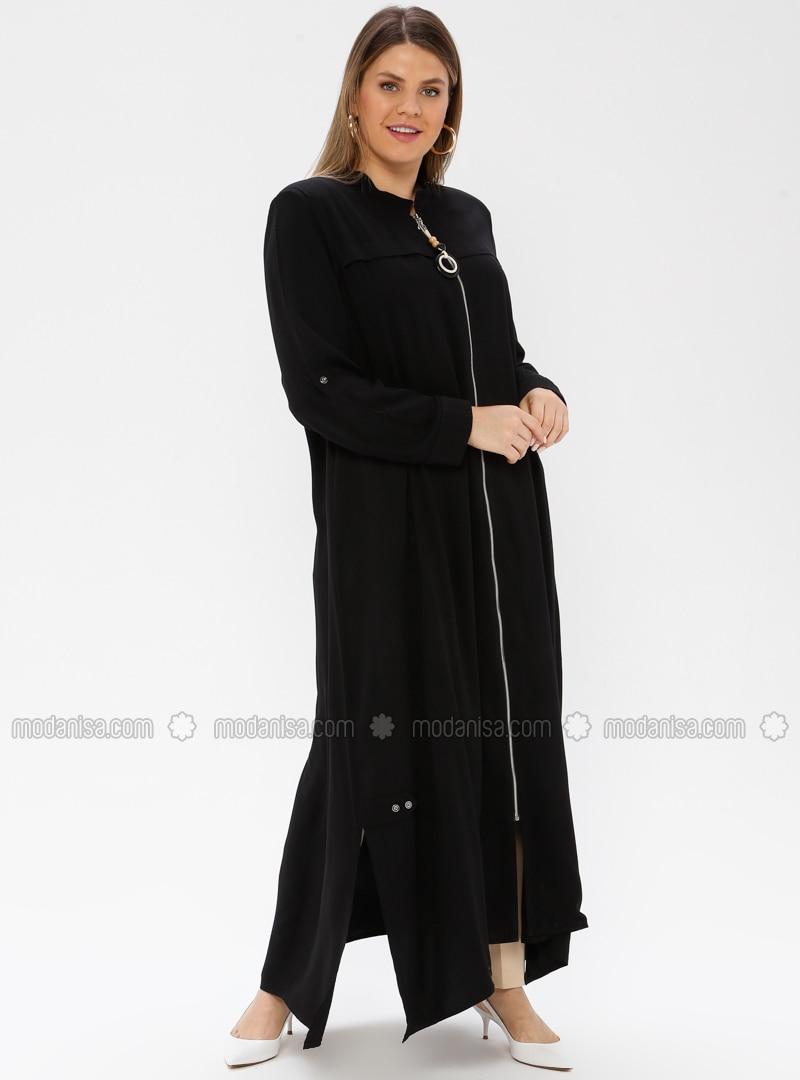Black - Crew neck - Unlined - Viscose - Plus Size Abaya