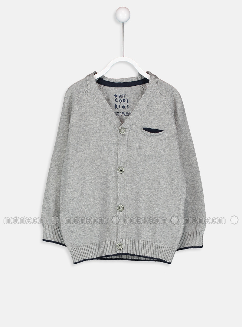 V neck Collar - Gray - Baby Cardigan