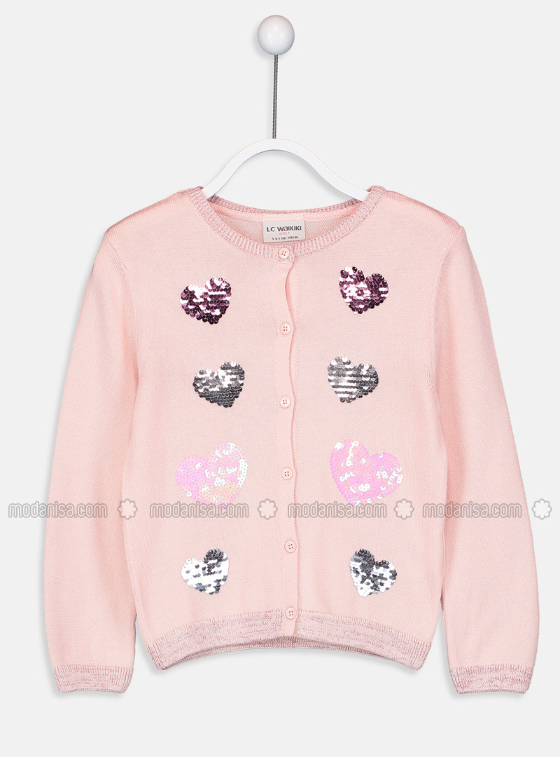 Crew neck - Pink - Girls` Cardigan