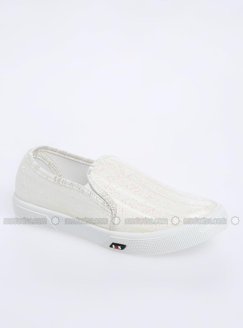 White - Flat - Girls` Flat Shoes