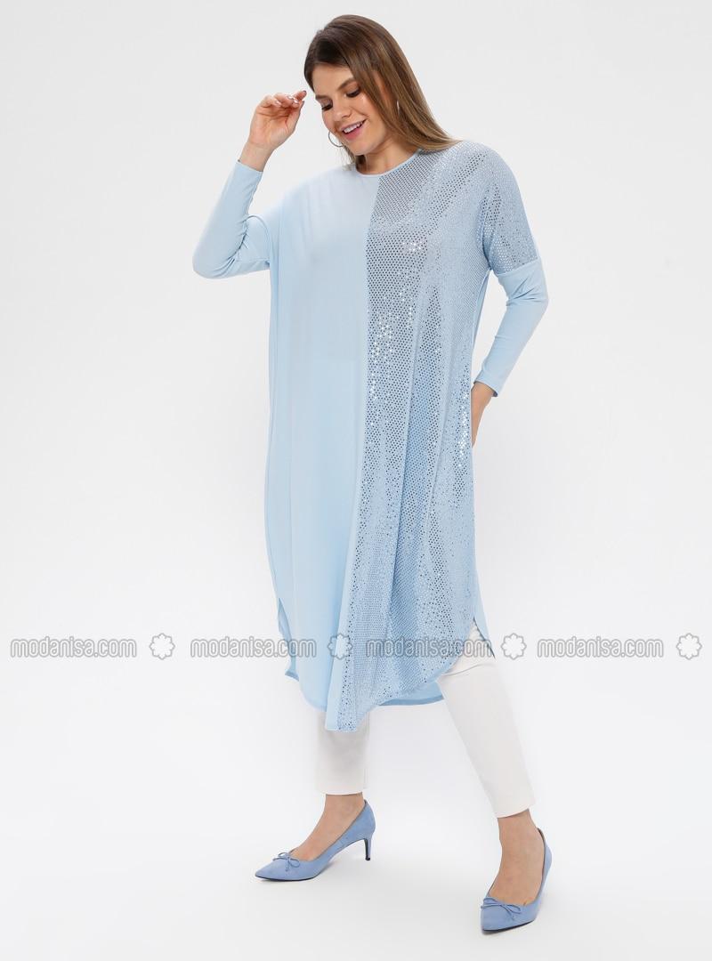 Blue - Crew neck - Plus Size Tunic