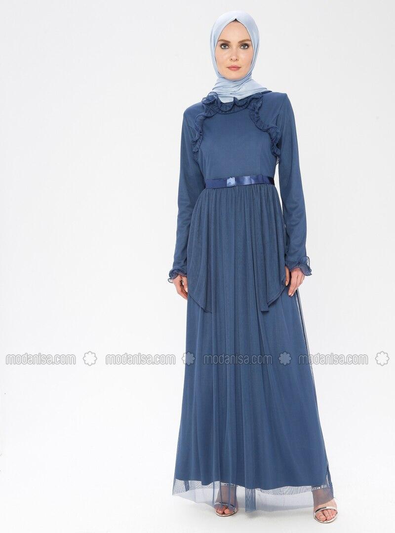 Blue - Navy Blue - Indigo - Fully Lined - Crew neck - Muslim Evening Dress