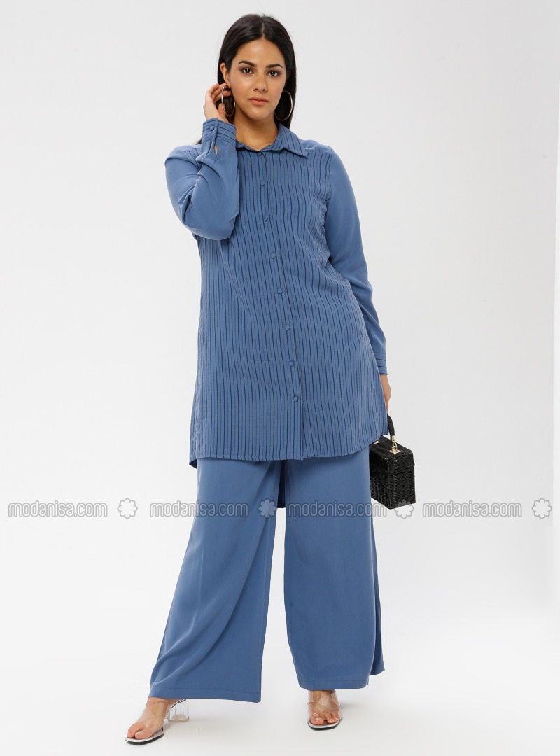 Indigo - Stripe - Point Collar - Unlined - Plus Size Suit