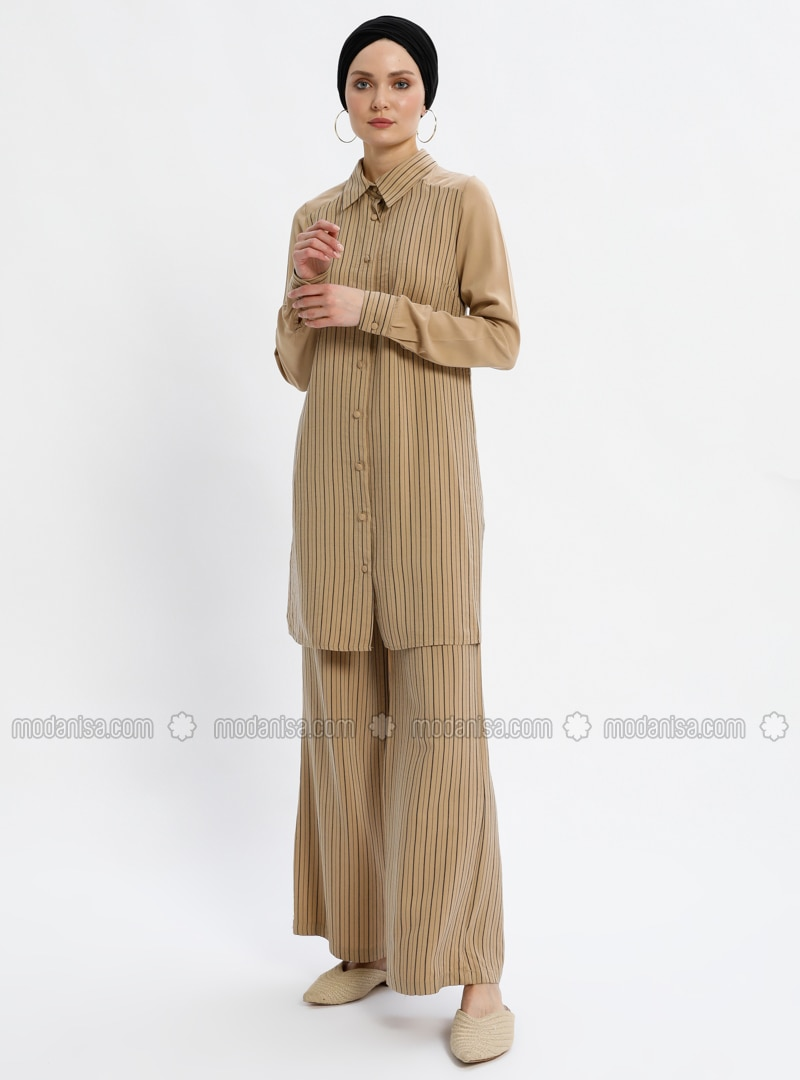 Beige - Stripe - Unlined - Suit