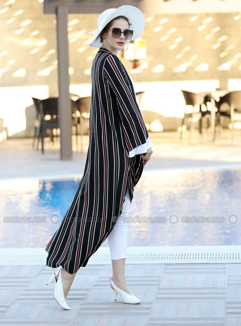 Black - Fuchsia - Stripe - Unlined - Shawl Collar - Jacket
