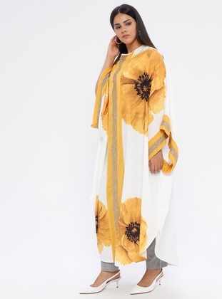 White - Mustard - Floral - Crew neck - Unlined -  - Plus Size Abaya