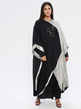 Gold - Black - V neck Collar - Fully Lined - Plus Size Abaya