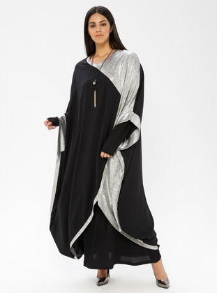 Black - Silver tone - V neck Collar - Fully Lined - Plus Size Abaya