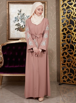 - Unlined - V neck Collar - Abaya
