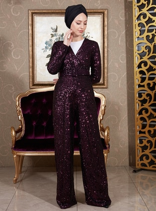 Plum - Fully Lined - V neck Collar - Jumpsuit