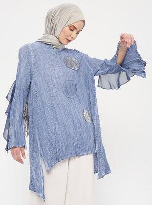 Blue - Navy Blue - Indigo - Crew neck - Cotton - Tunic