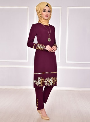 Unlined - Purple - Multi - Crew neck - Evening Suit - AYŞE MELEK TASARIM
