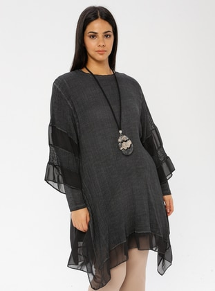 Anthracite - Crew neck - Cotton - Plus Size Tunic