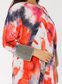 Coral - Multi - Crew neck - Unlined - Plus Size Abaya