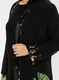 Black - Multi - Unlined - Crew neck - Cotton - Plus Size Dress