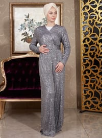 Gray - Fully Lined - V neck Collar - Jumpsuit