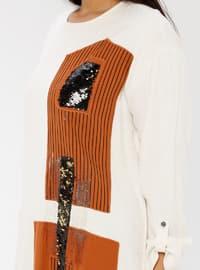 Beige -  - Unlined - Crew neck - Cotton - Plus Size Dress
