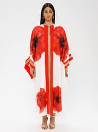 Red - Floral - Crew neck - Unlined - Cotton - Plus Size Abaya