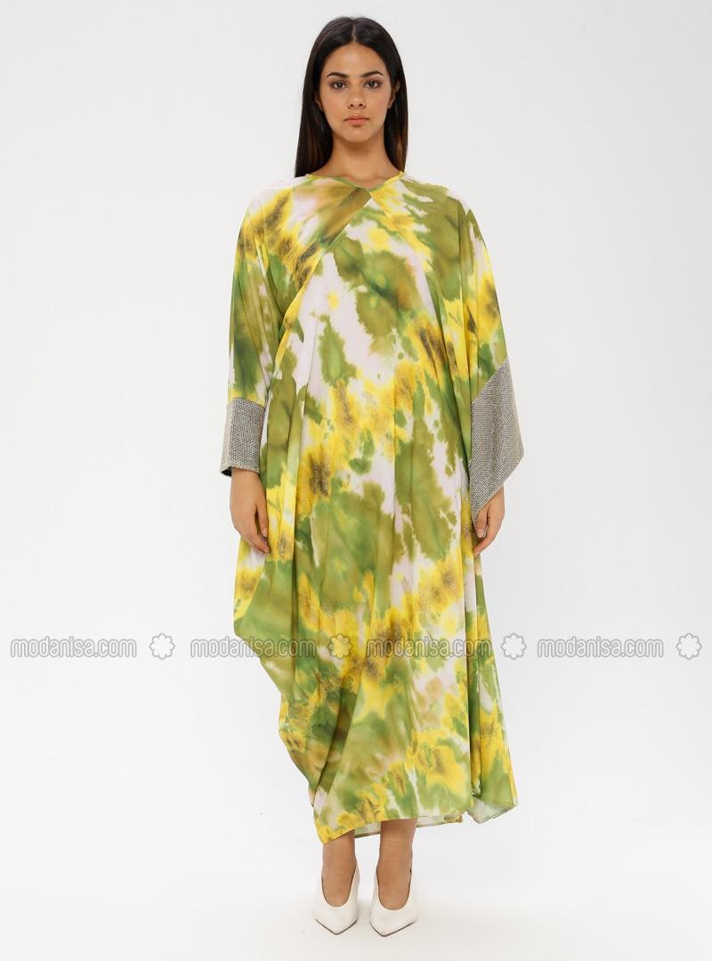 Yellow - Multi - Crew neck - Unlined - Plus Size Abaya