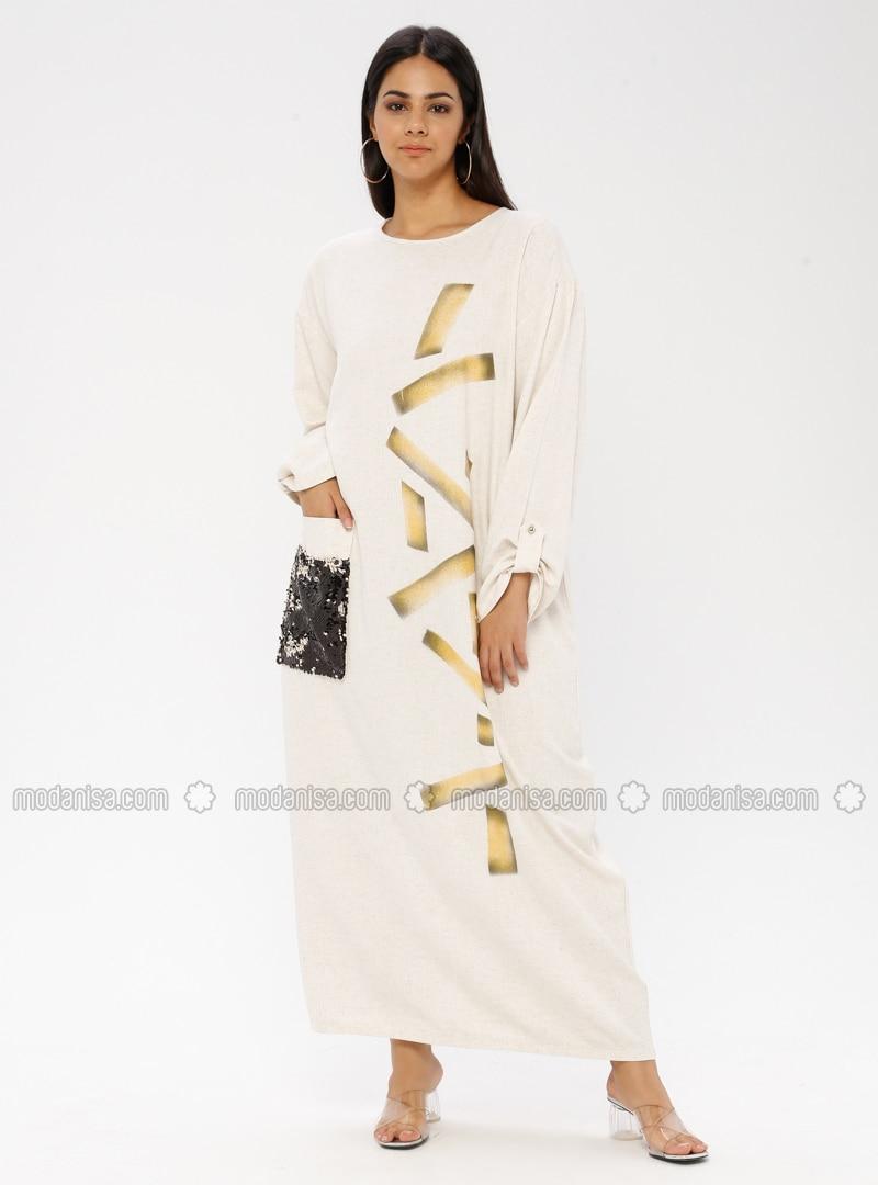 Gold - Cream - Multi - Unlined - Crew neck - Cotton - Plus Size Dress