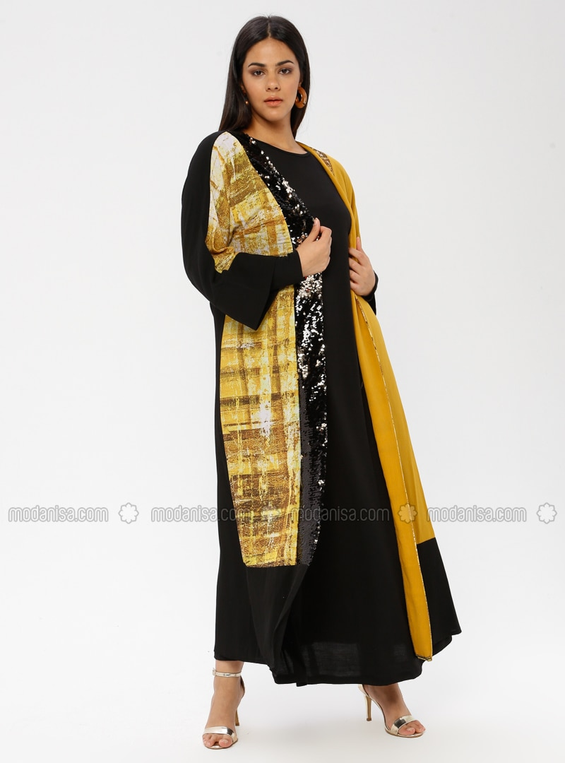 Yellow - Multi - Crew neck - Shawl Collar - Unlined - Cotton - Plus Size Suit