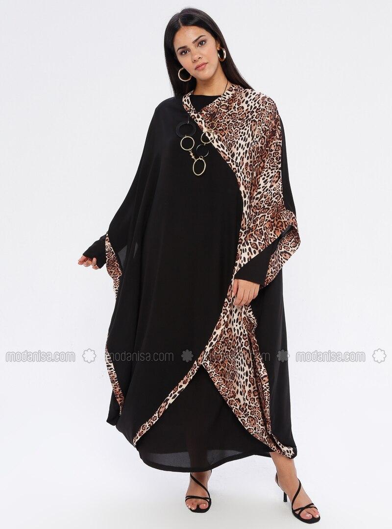 Beige - Black - Fully Lined - V neck Collar - Plus Size Dress